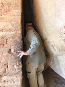 My Dad squeezing into Balcony House- Mesa Verde National Park